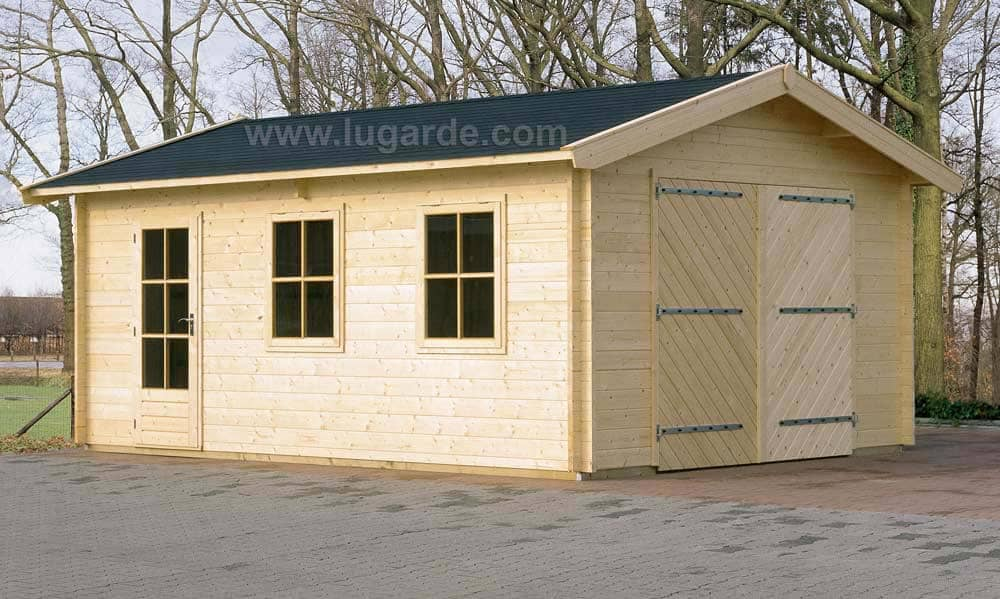 Wooden garage with double doors, windows and a side door