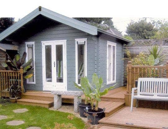 Grey Summerhouse on decking