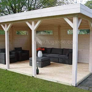 Gazebo with sofa and table
