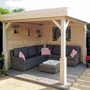 Gazebo with sofa and table underneath