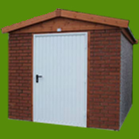 Brick Shed with white door