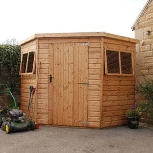 clayton summerhouse in garden for tools