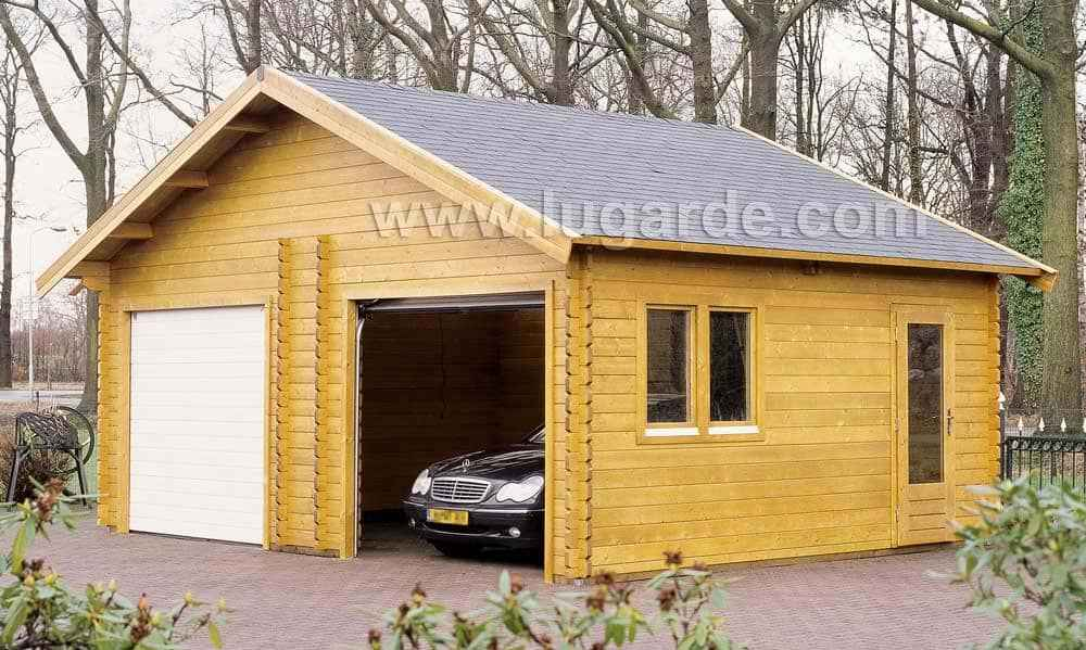 Light Wooden Garage with car coming out