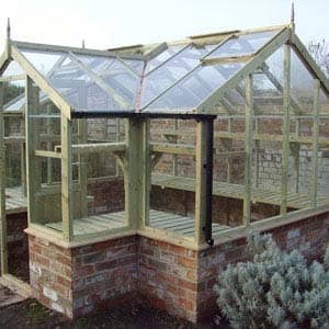Mallard greenhouse with brick base