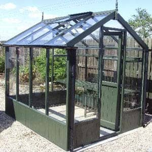 Olive painted greenhouse for gardening