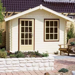 roma log cabin for garden with outdoor bench