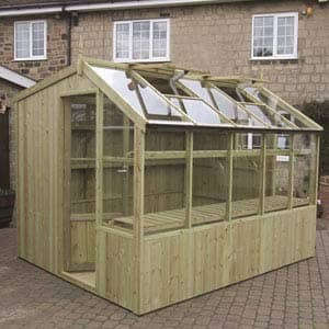 wooden rook greenhouse outside house