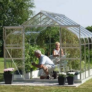 people gardening the greenhouse