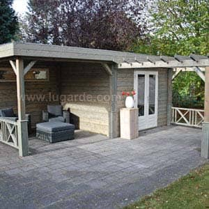 sophia log cabin with outdoor seating and shelter