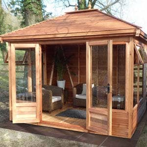 tudor summerhouse with sofas