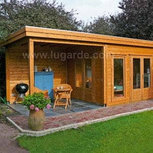 victoria log cabin with outdoor shelter and furtiture