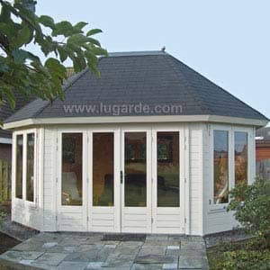 white-summerhouse in garden