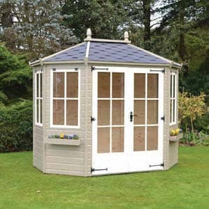 wingrove summerhouse with flower pots