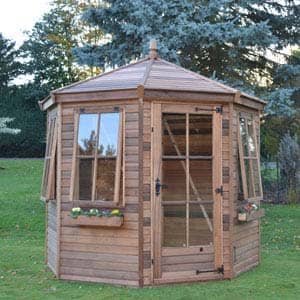 wingrove summerhouse with flower baskets