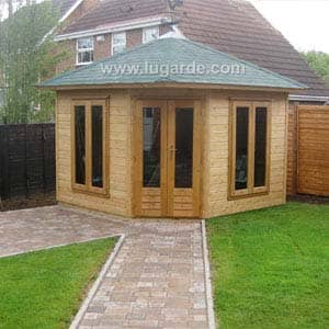 wooden summerhouse with long path